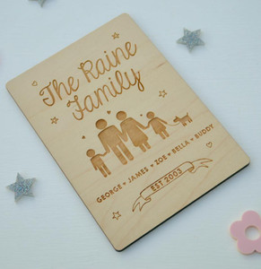 Personalised Family Wooden Card