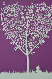 Paper Cut - Family Tree - Heart Shape - Personalised