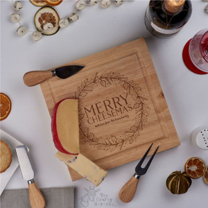 Personalised - Merry Cheesmas -  board with Knives