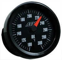 AEM - Oil Temperature Gauge: 100-300F w/ Analog Face