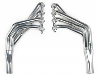Hooker Super Comp LS Engine Swap Headers - Nissan 240SX S13/S14 89-98  1–7/8'' Primaries x 3'' Collectors, 3/8'' Thick TIG welded flat flanges, Silver Ceramic Coated Mild Steel Nissan 240SX S13/S14 LS Silver Ceramic Mild Steel Engine Swap Headers 1–7/8'' primiaries x 3'' collectors, 3/8'' Thick TIG welded flat flanges  Installation Notes For racing use only - not legal for sale or use on pollution-controlled vehicles that are to be operated on public streets and highways   Features  1-7/8'' primaries and 3'' collectors are optimally sized for stock LS2/LS3/LS7 and hot LS1/LS6 engines Only accommodates LS engines equipped with T-56 transmissions. Can NOT be used with 4L60E/4L80E automatic transmissions Optimized bend geometry for fantastic spark plug/wire and vehicle component clearance Compatible with stock bell housing or Quicktime™ scatter shield which allows for a safety upgrade if so desired Ceramic coating fits looks great/aids in dissipating heat and offers good corrosion resistance Collectors are tucked close to floor panels for fantastic ground clearance and longer product life Compatible with soon-to-be released Hooker aft-cat system Dual compatibility with all other Holley and Sikky swap components TIG welded flat flanges for an optimum sealing surface    Headers are available with the following different finishes:  - Stainless Steel - Mild Steel w/ Polished Silver Ceramic Coating - Mild Steel w/ Black Ceramic Coating - Black Painted Mild Steel