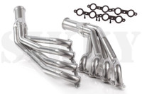 Sikky Headers LS1 S13/S14 1 3/4 Thermal Coated - Nissan 240SX S13/S14  Sikky headers allow perfect drop in fitment in S13/S14 240sx with LS1 motor w/T56 (Camaro) transmission using Sikky motor mounts. The coating we use is Aluminum Ceramic coating.  The process in which each header is coated:  Each part is thermal degreased at 750 degrees for 3 hours to remove any impurities and contaminates. This is the most effective way to clean parts. After thermal, each part goes through a series of blast, on all surfaces. Once a surface profile is created, the entire part is hand sprayed with Aluminum Ceramic coating. Once the part is covered, it is put in the oven (60' long) and cured at 750 degrees for 2 1/2 hours. After cure, each part is polished in a Vibratory polisher. Using special Ceramic beads, a special soap and water, the part is burnished (polished) to a high luster. After polish, it receives a wipe down and inspection before going to shipping. 3 year warranty on coatings for corrosion, etc. Recommended for street use (less than 500 HP)