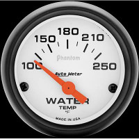 Auto Meter Phantom - Water Temperature Gauge: 100-250 Degrees FAHRENHEIT