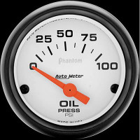 Auto Meter Phantom - Oil Pressure Gauge: 0-100 PSI Electrical
