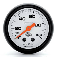 Auto Meter Phantom - Oil Pressure Gauge: 0-100 PSI