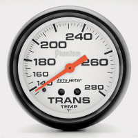 Auto Meter Phantom - Transmission Temperature Gauge: 67mm - 140-280 Degrees FAHRENHEIT