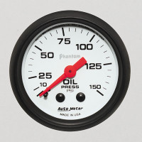 Auto Meter Phantom - Oil Pressure Gauge: 0-150 PSI Mechanical