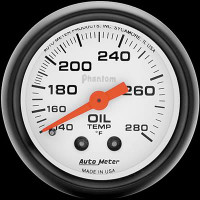 Auto Meter Phantom - Oil Temperature Gauge: 140-280 Degrees FAHRENHEIT