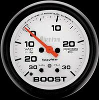 Auto Meter Phantom - Boost Gauge 67mm: 30in. Hg/30 PSI