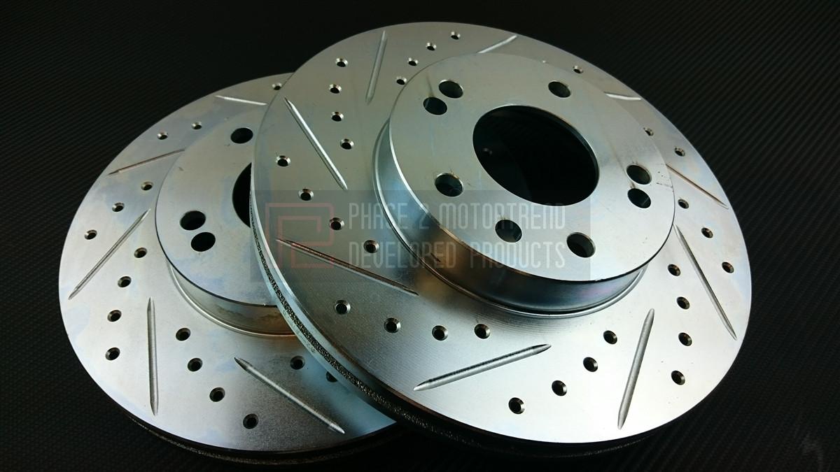 P2M Zinc Coated Slotted Drilled Rear Brake Rotors 240SX S13 S14 4 Lug 5 Lug New