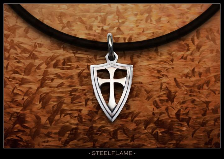 Crusader Cross Shield Steel Flame