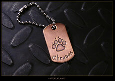Paw Copper Tag, Personalized
