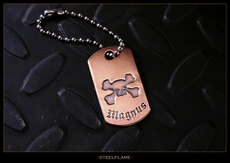 X Bones Copper Tag, Personalized
