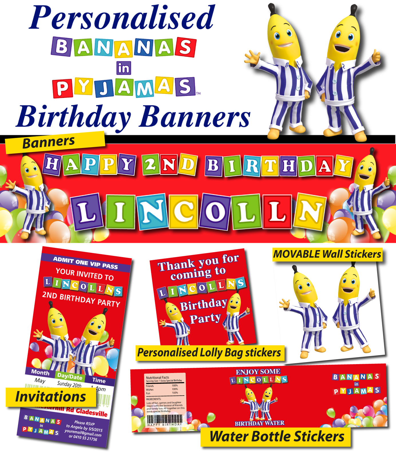 personalised octonauts birthday party banner decoration personalised bananas in pyjamas party banner decorations