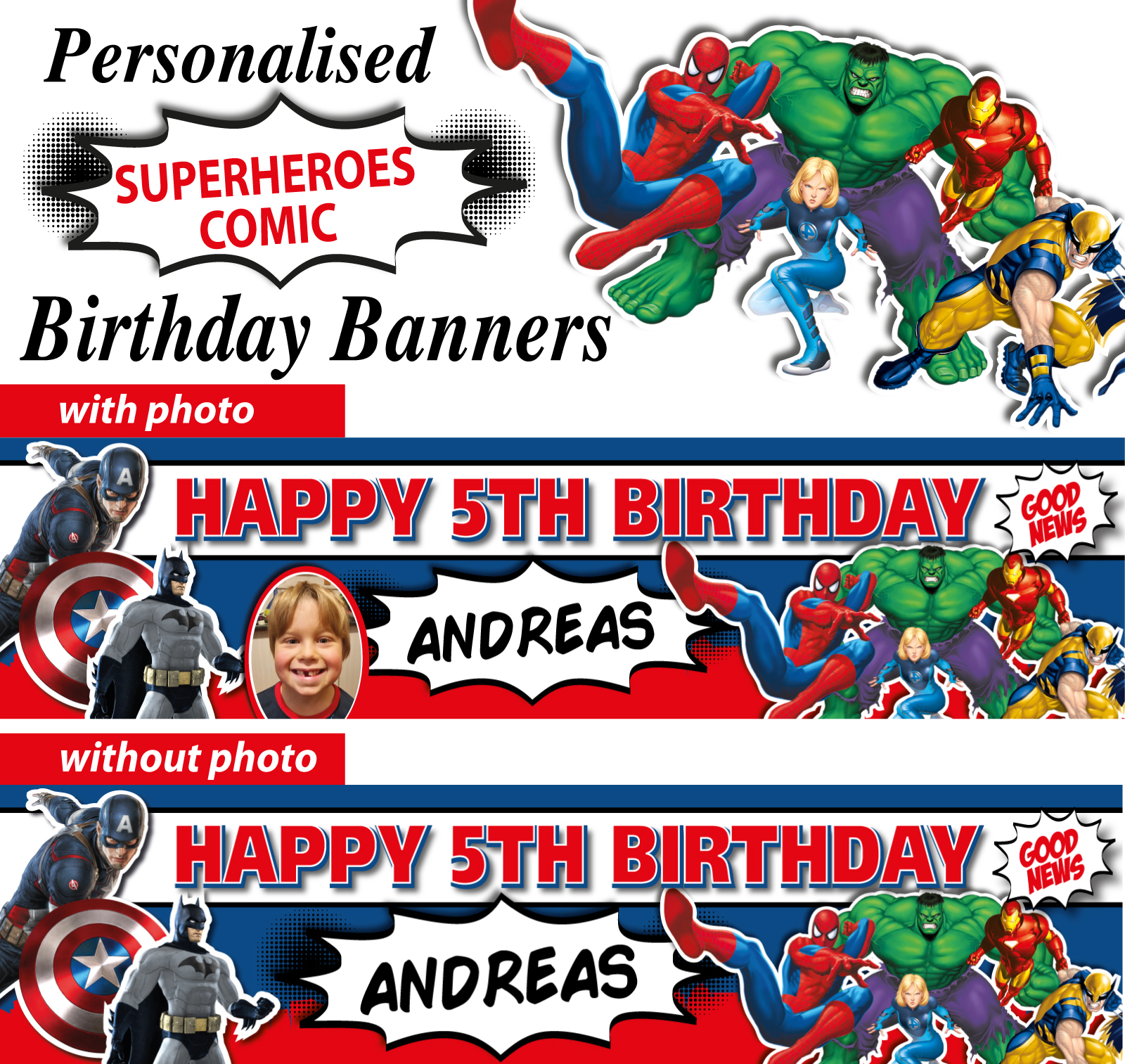 personalised comic super heroes birthday party banner