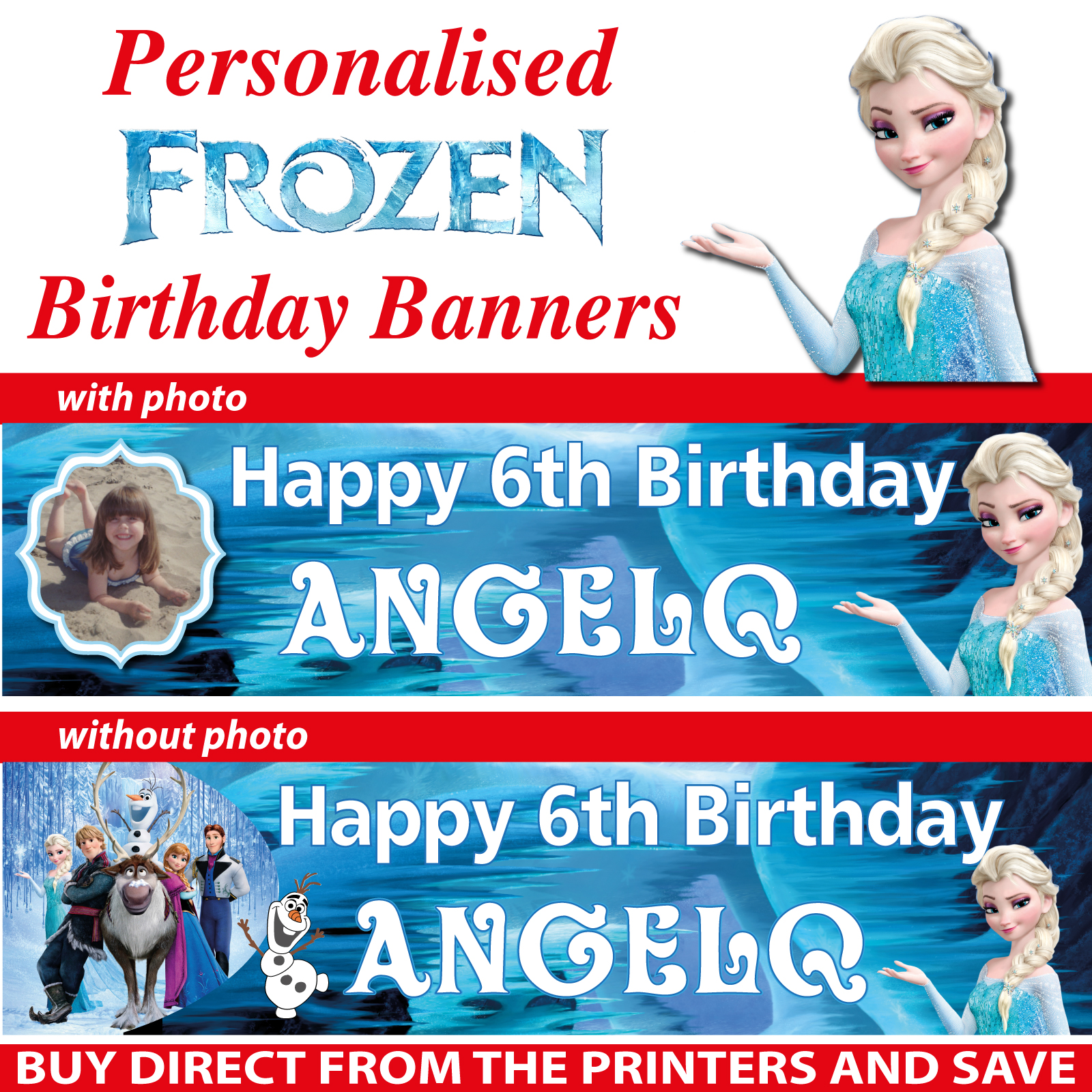 Personalised Frozen Party Birthday Banners