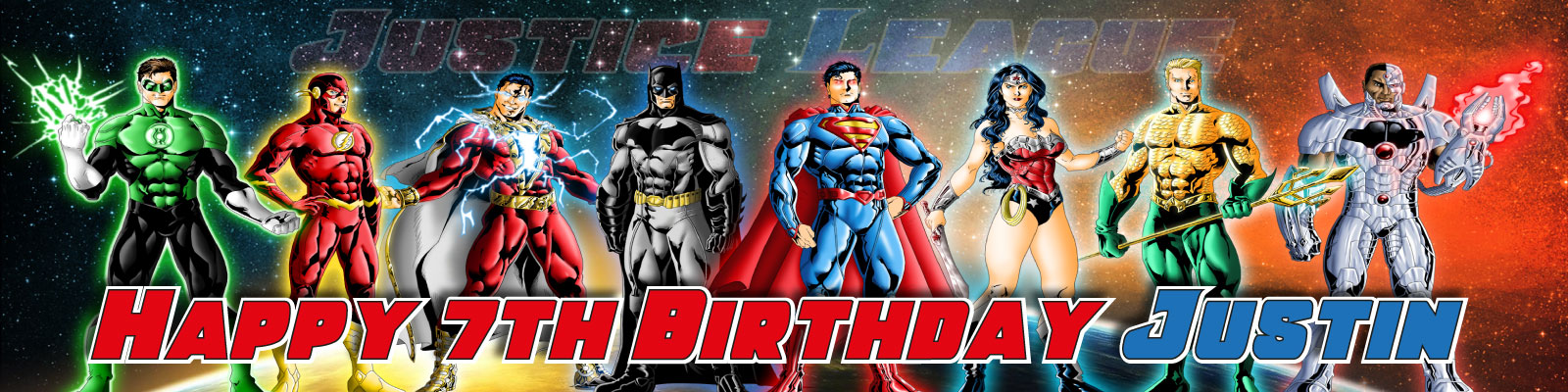 Personalised Justice League Birthday Party Banner Decoration