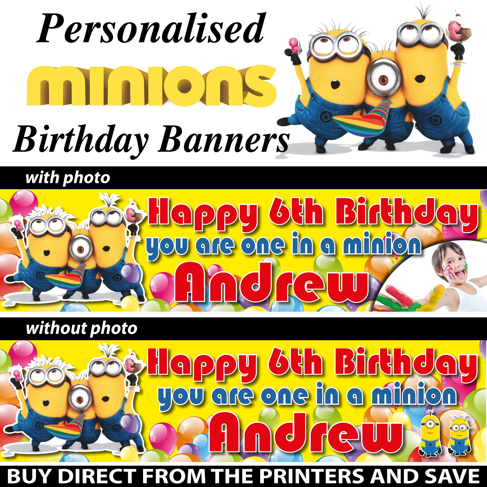 personalised one in a minion birthday party banner decoration