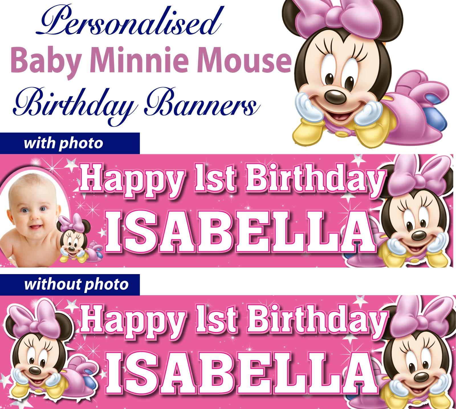 Personalised Baby Minnie Mouse Birthday Banner Decoration
