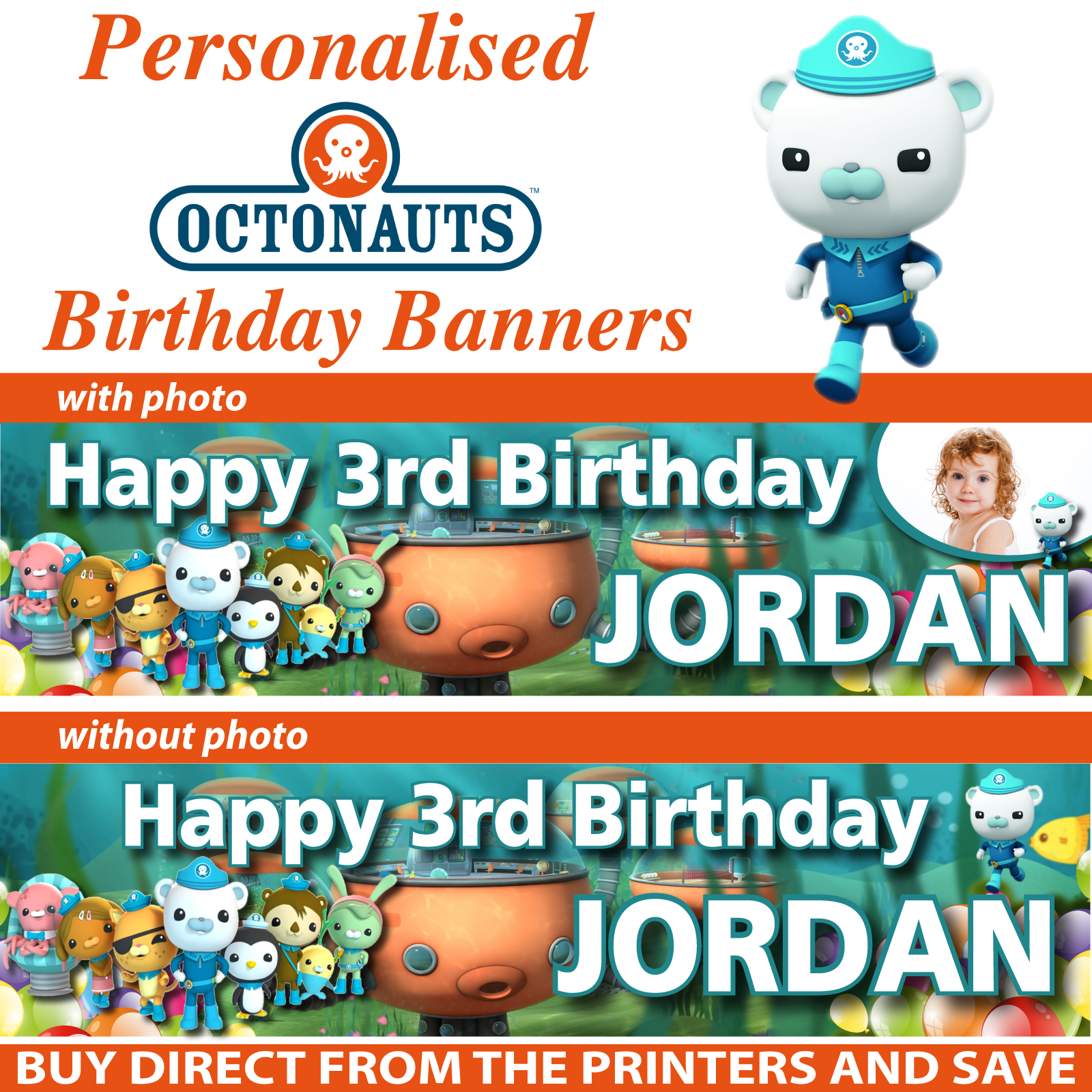 personalised octonauts wall stickers totally movable personalised octonauts birthday party banner decoration