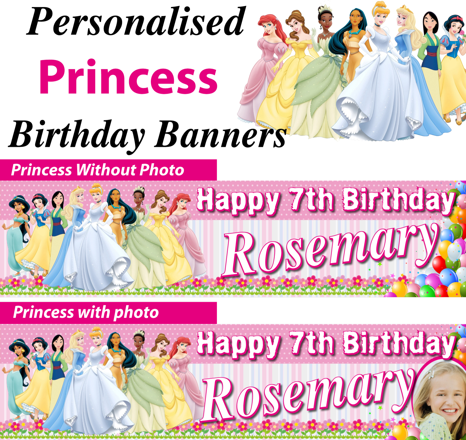 Personalised Princess Birthday Party Banner Decoration