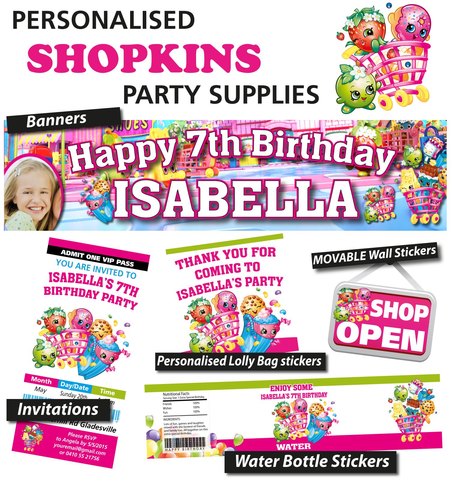 Shopkins Birthday Banner Shopkins Party Banner: Personalised Shopkins Birthday Party Banners Decoration