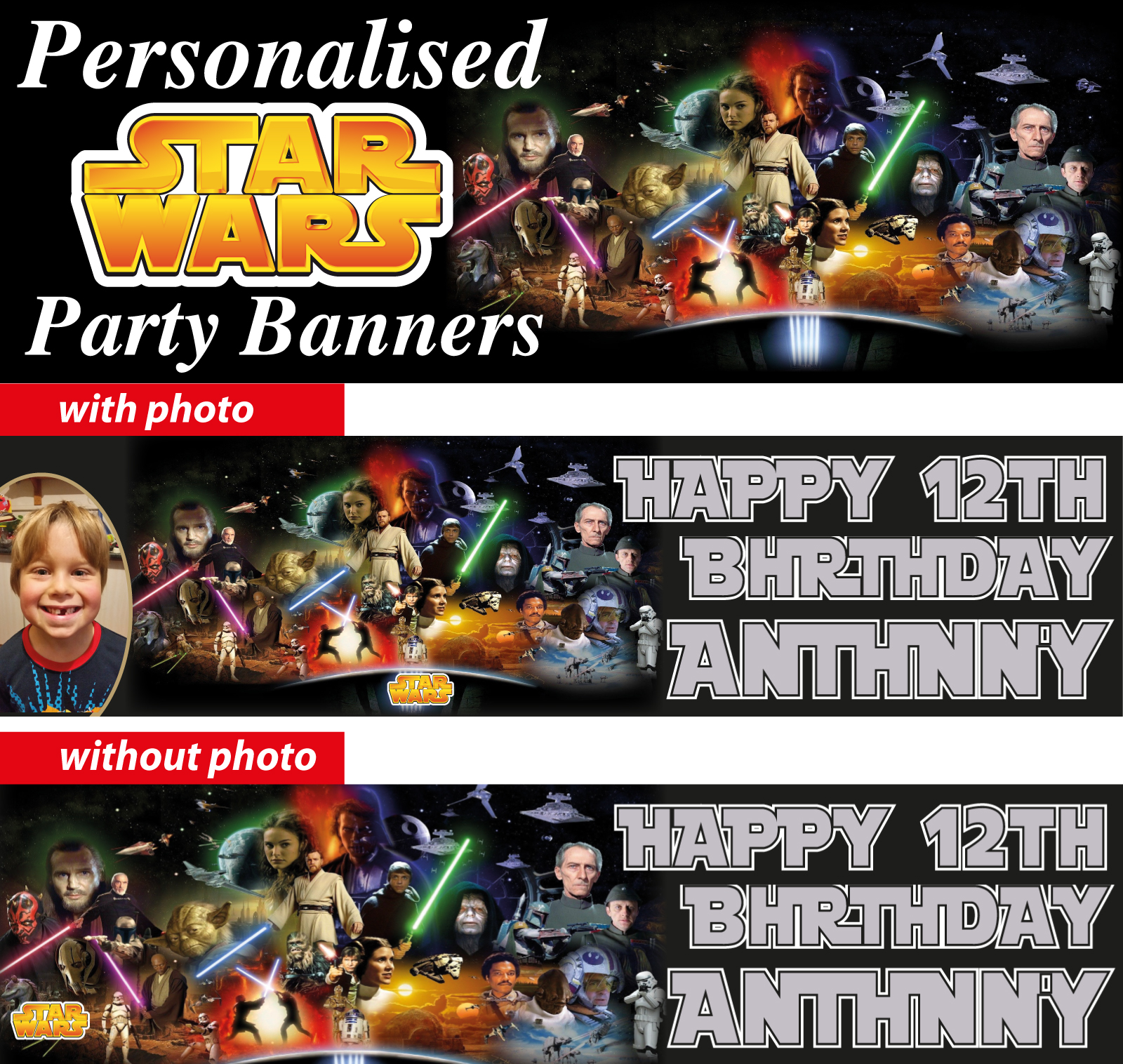 personalised star wars birthday party banner decoration