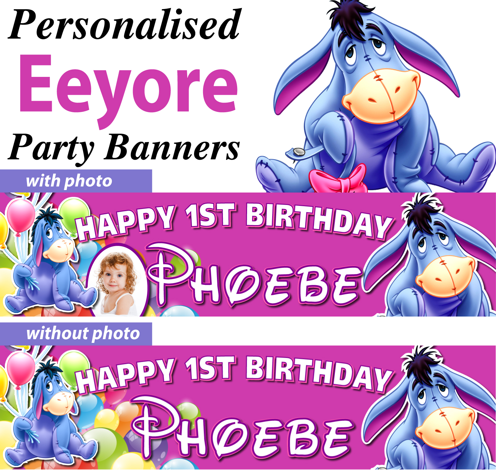 Trolls Happy Birthday Banner We Can Easily Add An: Personalised Eeyore Theme Birthday Party Banners Decorations