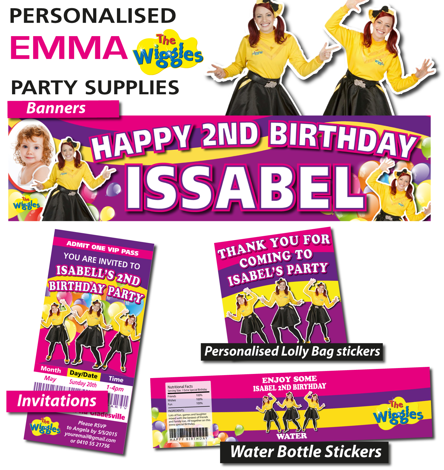 Personalised Emma Wiggles Birthday Party Banner Decorations Birthday