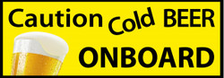 Caution Cold Beer On Board Man Cave Bumper Sticker