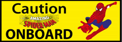 Caution Spiderman Onboard Funny Bumper Laptop Sticker
