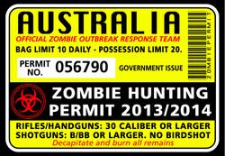 Zombie Hunting Permit Sticker - Funny Bumper Stickers
