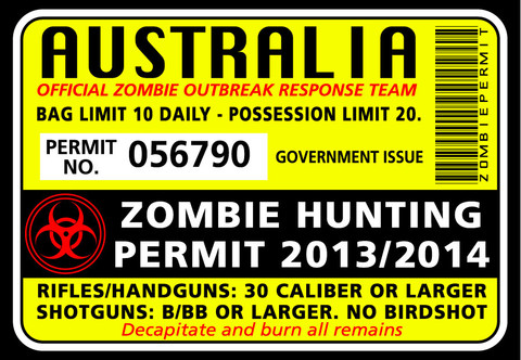 Zombie hunting permit sticker funny bumper stickers