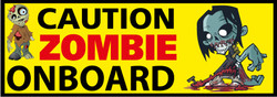 Caution Zombie Onboard - Funny Car Bumper Stickers
