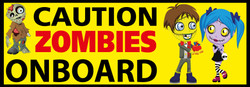 Caution Zombies Onboard - Funny Novelty Bumper Stickers