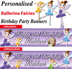 Personalised Ballerina Fairies Birthday Party Banner