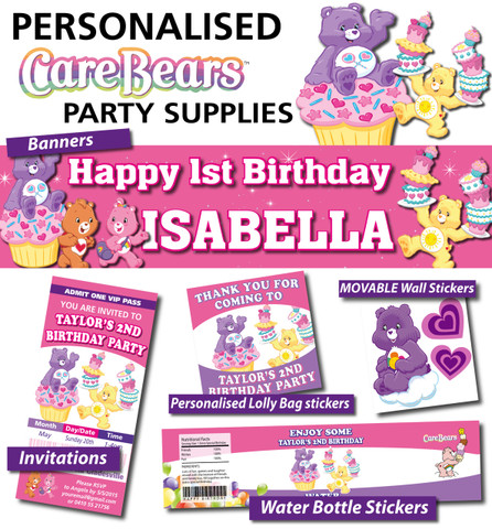 Personalised Care Bears Birthday Party Banner Decorations – Care Bear Birthday Invitations