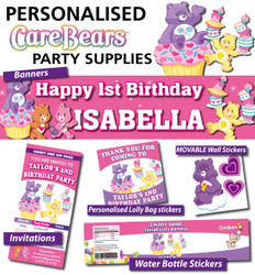 Personalised Care Bears Birthday Party Banner Decorations