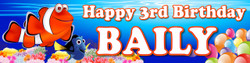 Personalised Finding Nemo and Dora Birthday Party Banner