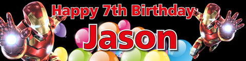 Personalised Ironman Birthday Party Banner - decoration