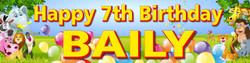 Personalised Jungle Animals Birthday Banner