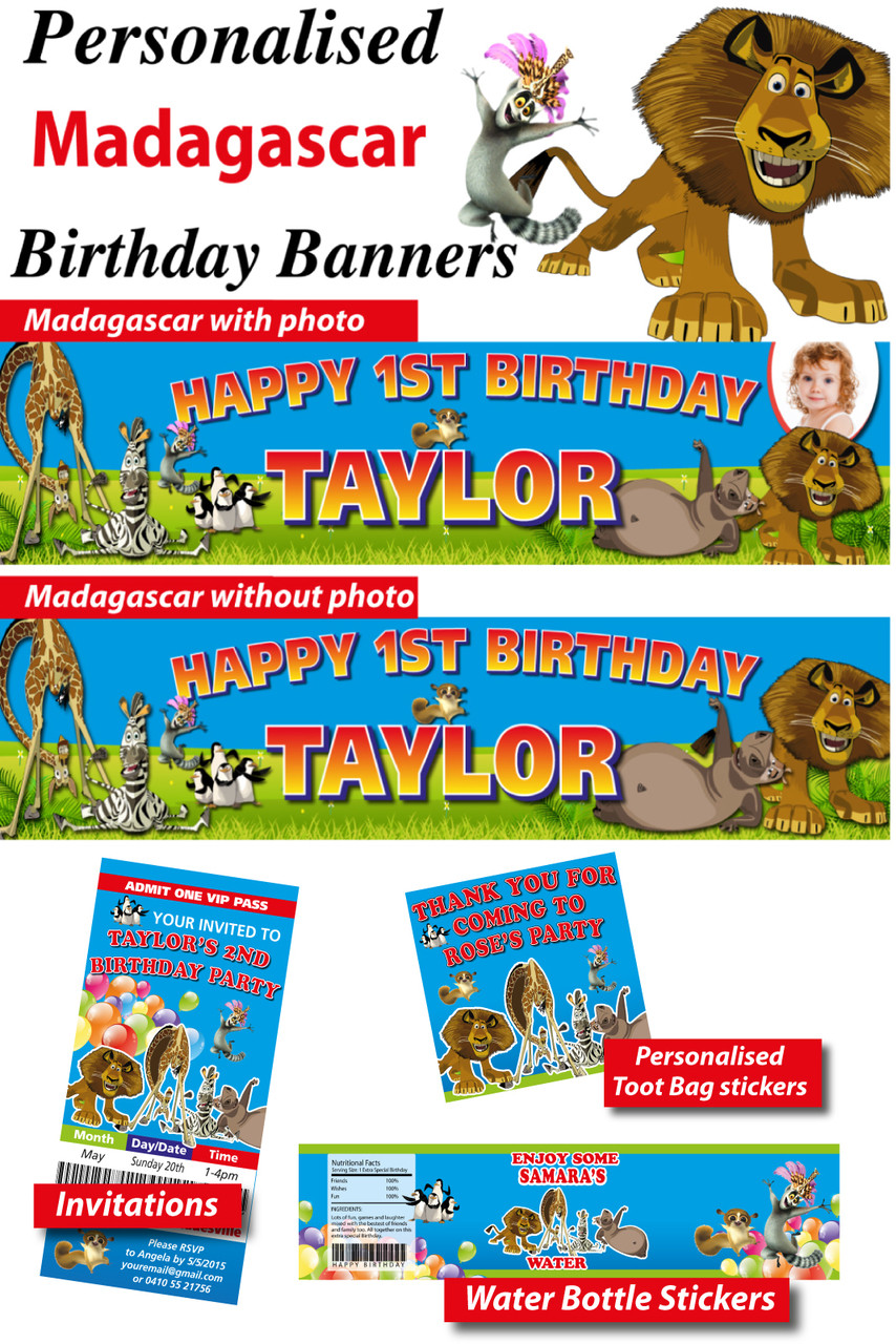 Personalised madagascar birthday party banner decoration for A hover text decoration
