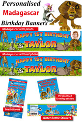 Personalised Madagascar Birthday Party Banner Decoration Supplies