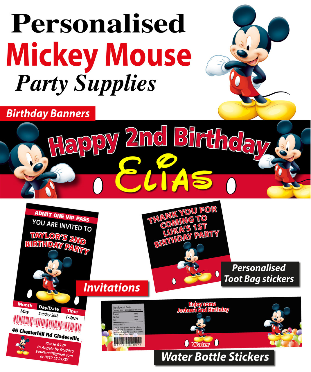 f8d8a078 Personalised Mickey Mouse Birthday Party Banner Decoration. Loading zoom