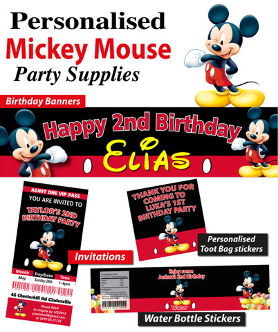 Personalised Mickey Mouse Birthday Party Banner Decoration