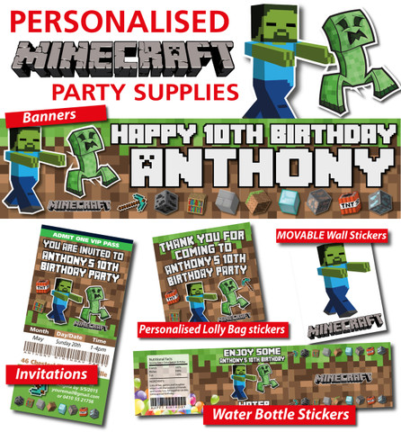 Personalised Minecraft Birthday Party Banner Decorations