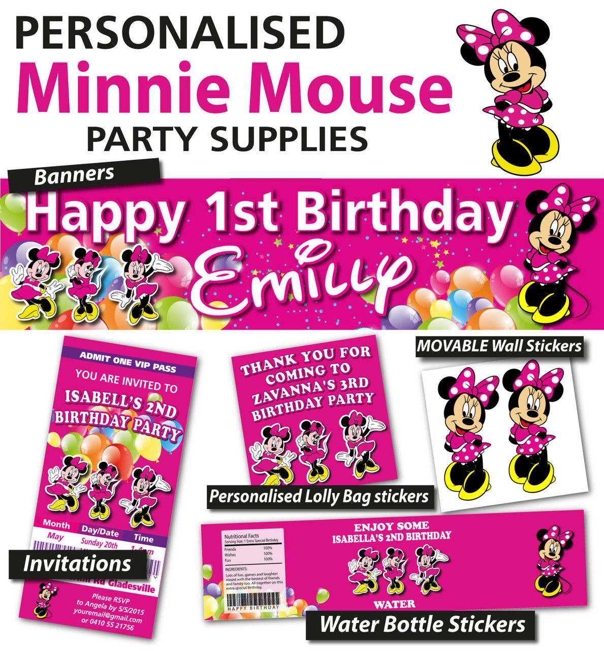 Personalised Minnie Mouse Birthday Party Banner Decoration Loading Zoom