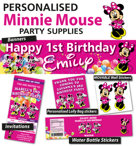 Personalised Minnie Mouse Birthday Party Banner Decoration