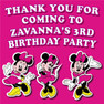 Personalised Minnie Mouse Birthday Party Lolly Bag Stickers
