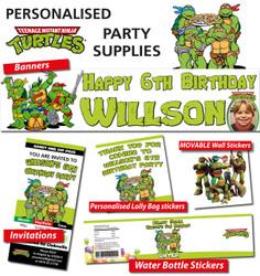 Personalised TMNT Ninja Turtles Birthday Party Banner Decorations
